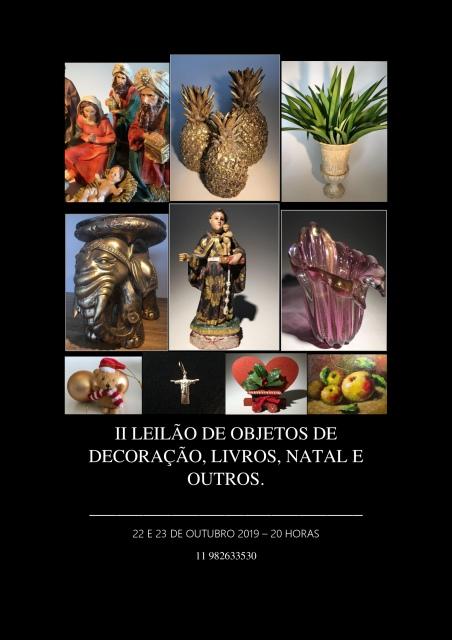 II LEILÃO DE OBJETOS DE DECORAÇÃO, LIVROS, NATAL E OUTROS.