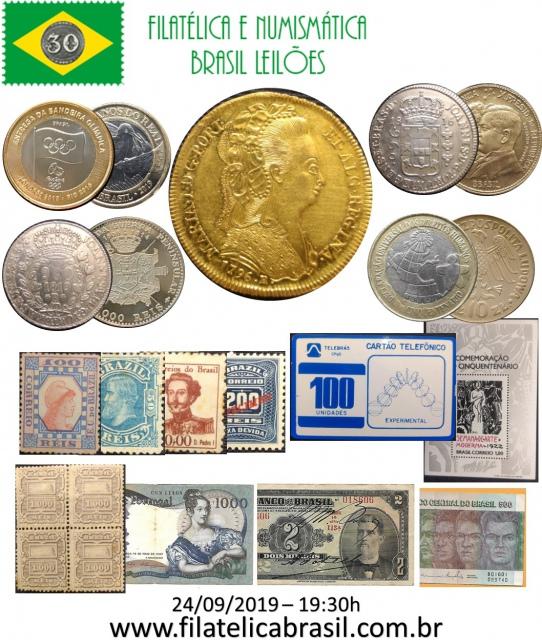 XXXIX LEILÃO DE COLECIONISMO FILATÉLICA E NUMISMÁTICA BRASIL