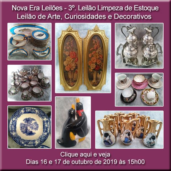 3º LEILÃO DE LIMPEZA DE ESTOQUE - CURIOSIDADES E DECORATIVOS - 16 e 17/10/2019 ÀS 15h00
