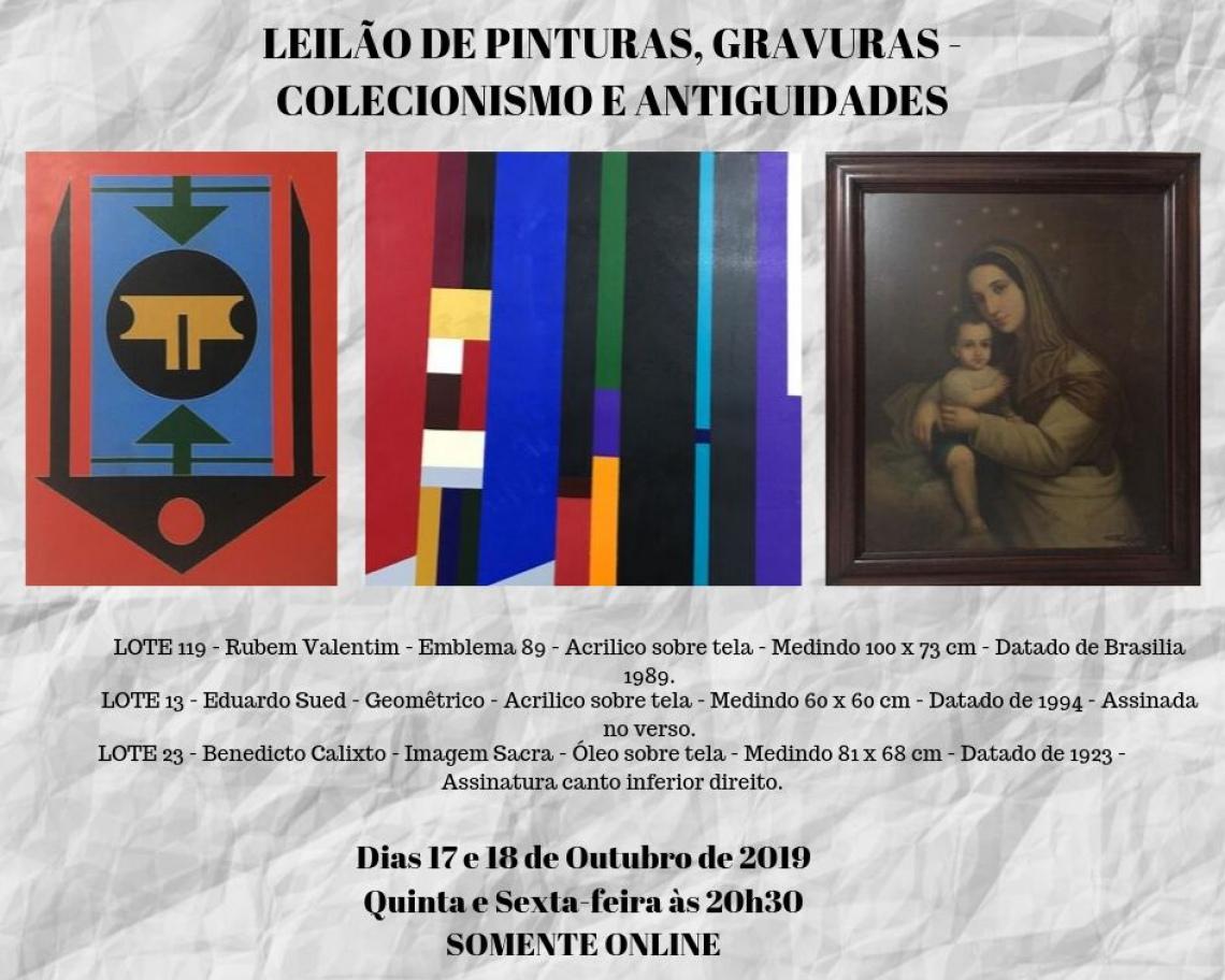LEILÃO DE PINTURAS, GRAVURAS - COLECIONISMO E ANTIGUIDADES -  50% LANCE LIVRE