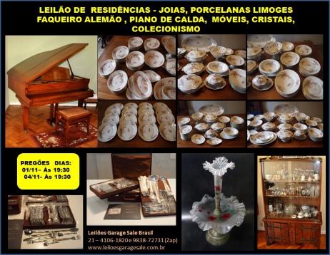 LEILÃO DE  RESIDÊNCIAS - JOIAS, PORCELANAS LIMOGES ,FAQUEIRO ALEMÃO , MÓVEIS, CRISTAIS,COLECIONISMO.