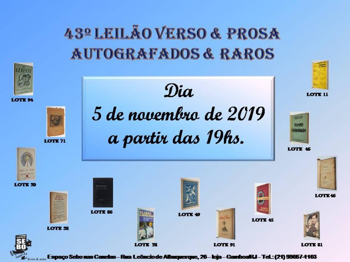 43º LEILÃO VERSO & PROSA - AUTOGRAFADOS & RAROS