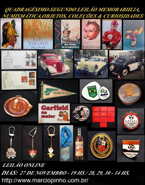 Quadragésimo Segundo Leilão Memorabilia, Numismática, Objetos, Coleções e Curiosidades
