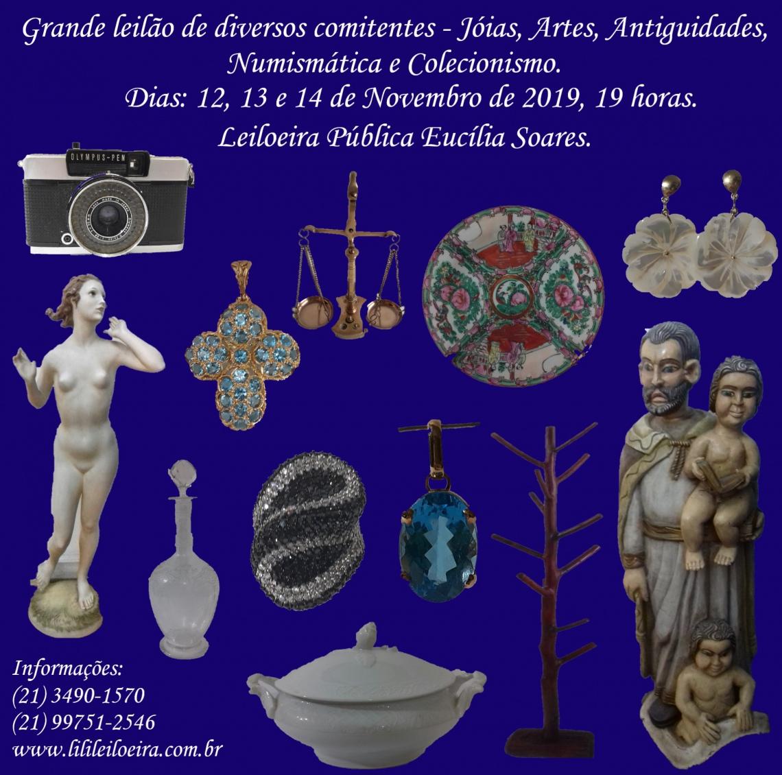 GRANDE LEILÃO DE DIVERSOS COMITENTES - JÓIAS, ARTES, ANTIGUIDADES, NUMISMÁTICA E COLECIONISMO.