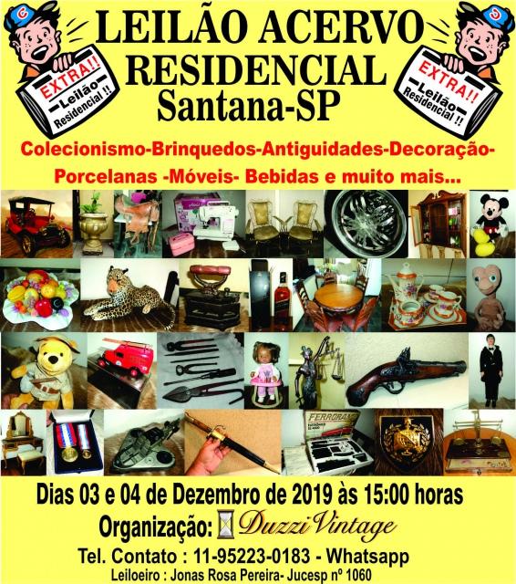 LEILÃO ACERVO RESIDENCIAL SANTANA-SP- Colecionismo-Antiguidades-Brinquedos-Porcelanas-Móveis,etc...
