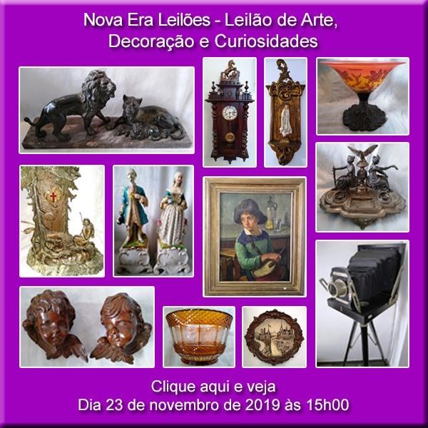 LEILÃO DE ARTE, ANTIGUIDADES E CURIOSIDADES - DIA 23/11/2019 ÀS 15H