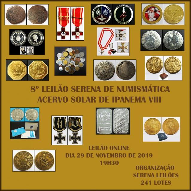 8º LEILÃO Serena - NUMISMÁTICA - ACERVO SOLAR DE IPANEMA VIII