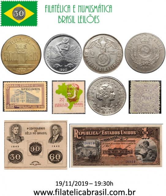 XLVIII LEILÃO DE COLECIONISMO FILATÉLICA E NUMISMÁTICA BRASIL