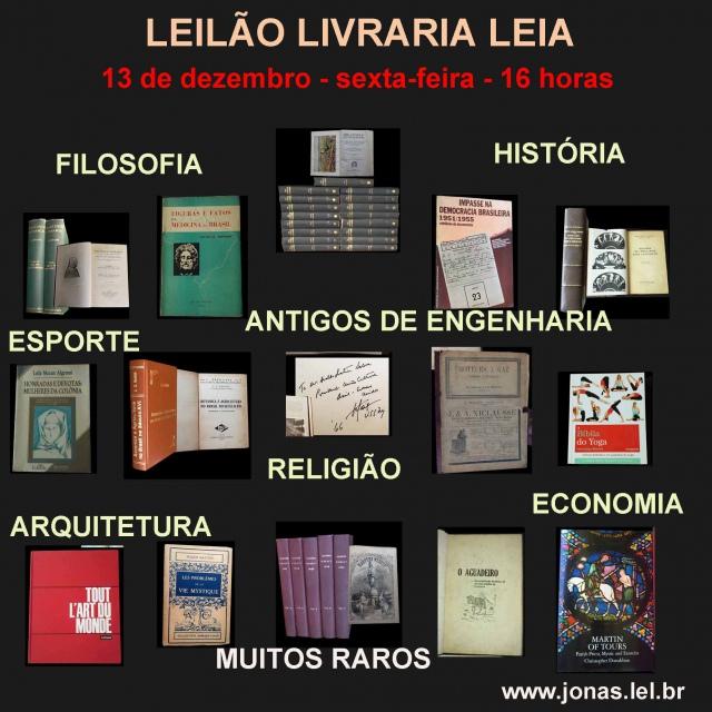 LEILÃO DE LIVROS DE FILOSOFIA, HISTÓRIA,  ESPORTE, ANTIGOS DE ENGENHARIA, RELIGIÃO,  ARQUITETURA E M