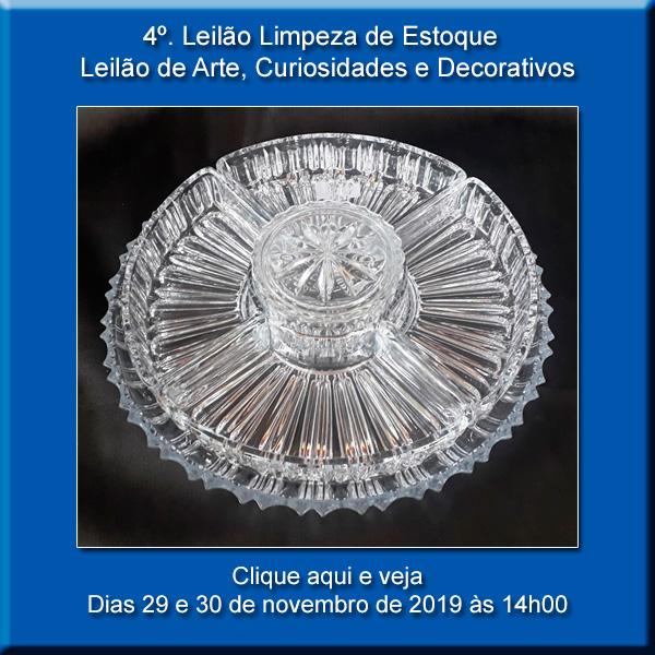 4º LEILÃO DE LIMPEZA DE ESTOQUE - CURIOSIDADES E DECORATIVOS - 29 e 30/11/2019 ÀS 13h00
