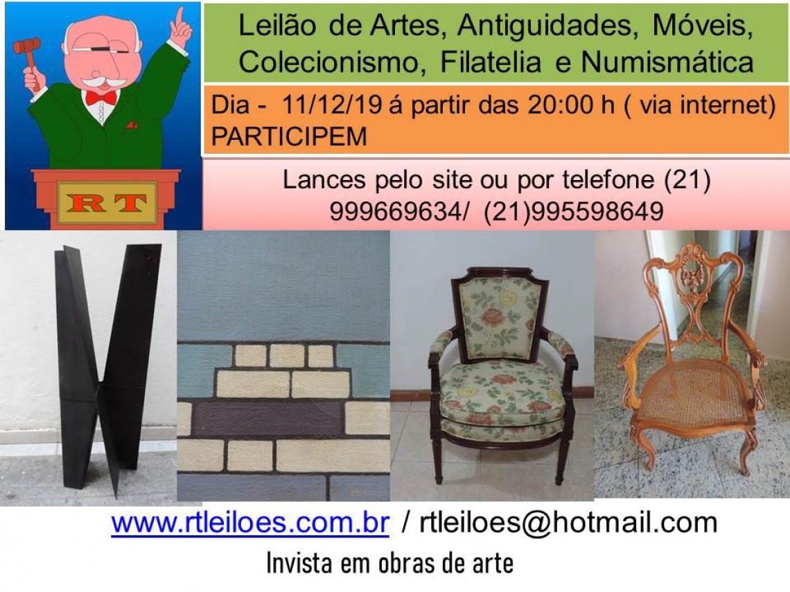 LEILÃO DE ARTE , ANTIGUIDADES, MÓVEIS, COLECIONISMO, FILATELIA E NUMISMÁTICA