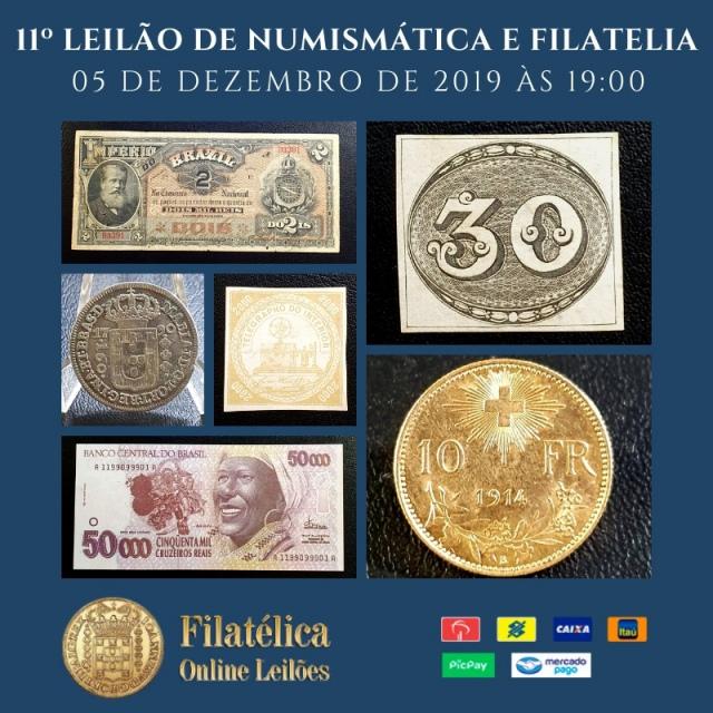 11º LEILÃO DE NUMISMÁTICA E FILATELIA - FILATÉLICA ONLINE LEILÕES