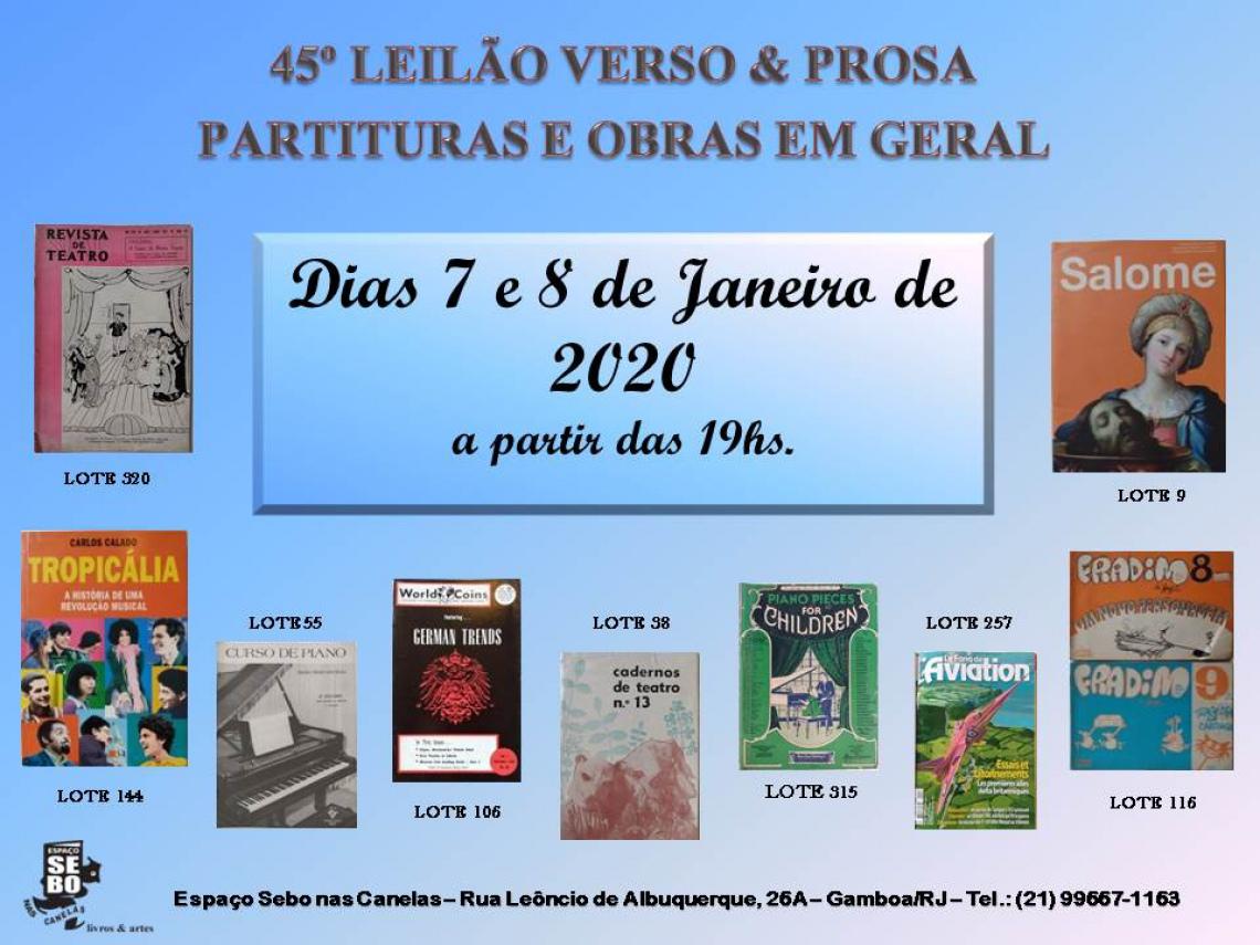 45º LEILÃO VERSO & PROSA - PARTITURAS E OBRAS EM GERAL
