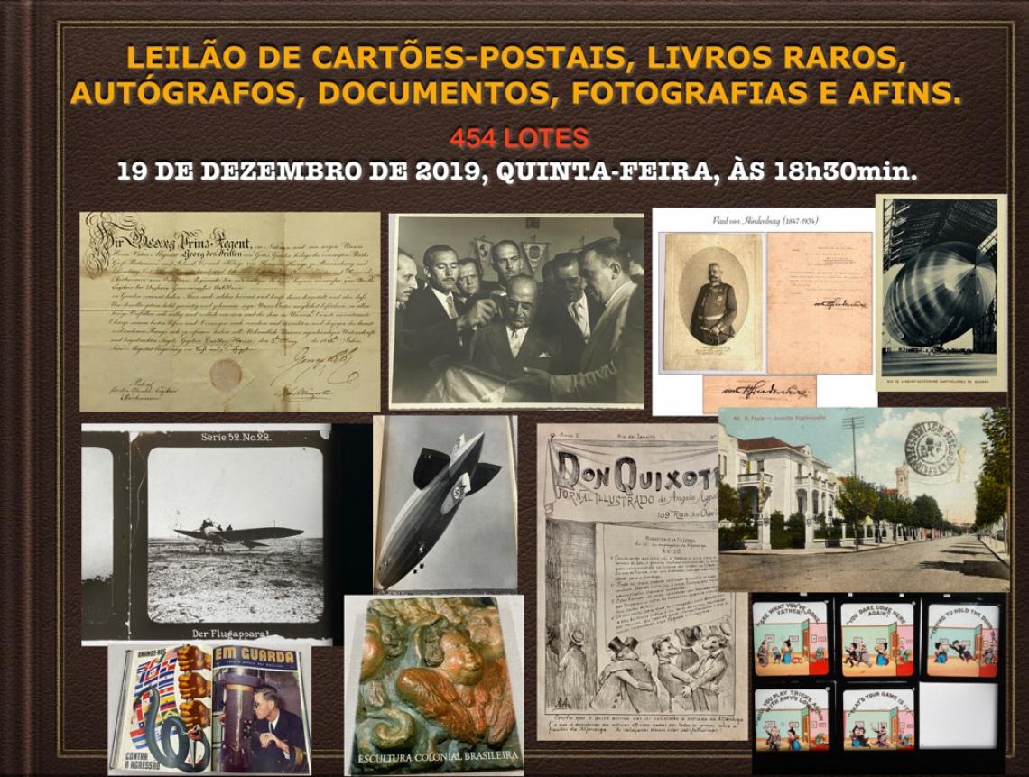 LEILÃO DE CARTÕES-POSTAIS, LIVROS RAROS, AUTÓGRAFOS, DOCUMENTOS, FOTOGRAFIAS E AFINS.
