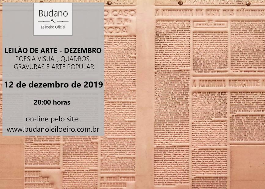LEILÃO DE ARTE DEZEMBRO -  POESIA VISUAL, QUADROS, GRAVURAS E ARTE POPULAR