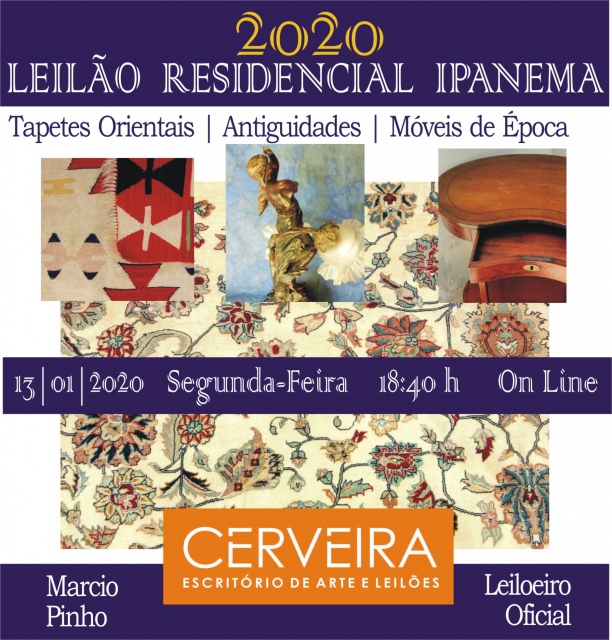 LEILÃO RESIDENCIAL IPANEMA | TAPETES ORIENTAIS | ANTIGUIDADES | MÓVEIS DE ÉPOCA