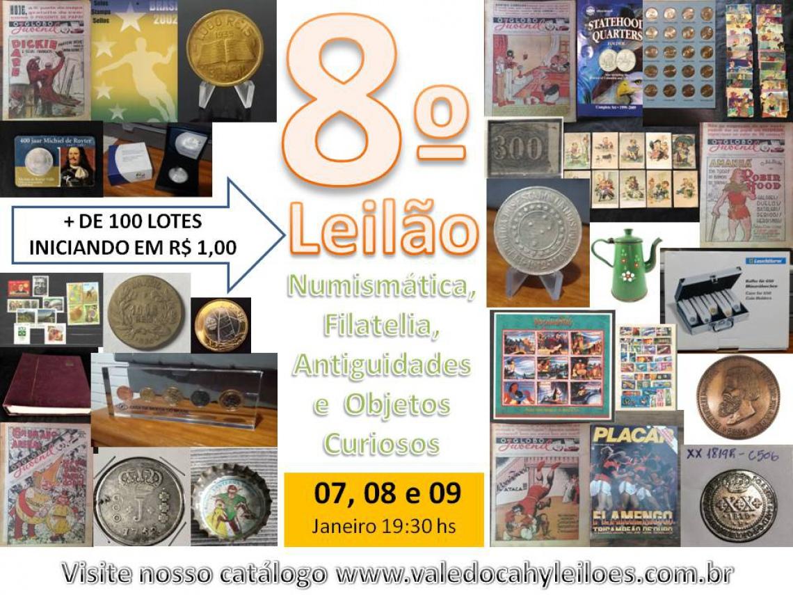 8º Leilão de Numismática, Filatelia, Antiguidades e Objetos Curiosos