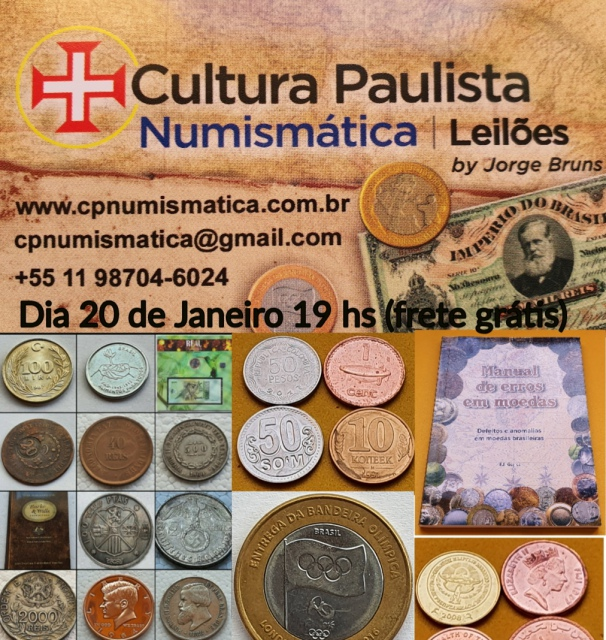 6º LEILÃO - CULTURA PAULISTA NUMISMÁTICA /FRETE GRÁTIS(leia as condições)