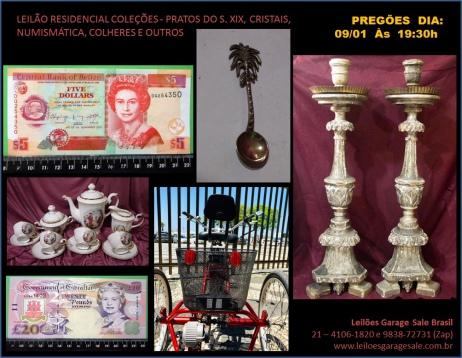LEILÃO RESIDENCIAL COLEÇÕES - PORCELANA PROFISSIONAL, CRISTAIS, NUMISMÁTICA, PRATAS, ANTIGUIDADES.
