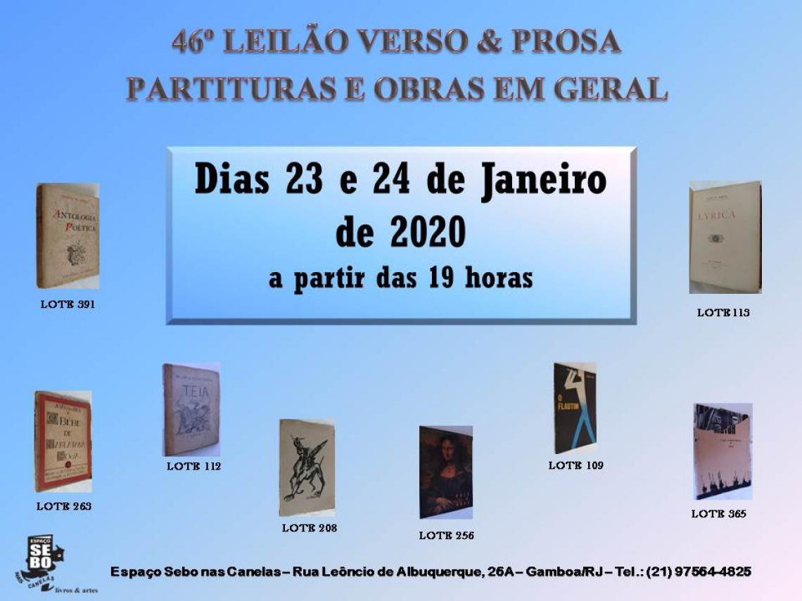 46º LEILÃO VERSO & PROSA - PRIMEIRAS EDIÇÕES, OBRAS AUTOGRAFADAS, RARIDADES LITERÁRIAS & OUTROS