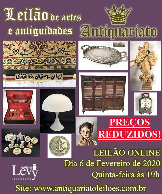 LEILÃO DE PREÇOS REDUZIDOS ANTIQUARIATO DE ANTIGUIDADES, CURIOSIDADES E COLECIONISMO - FEVEREIRO2020