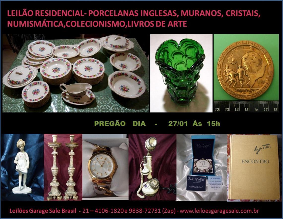 LEILÃO RESIDENCIAL-PORCELANAS INGLESAS,MURANOS,CRISTAIS,NUMISMÁTICA,COLECIONISMO,LIVROS DE ARTE