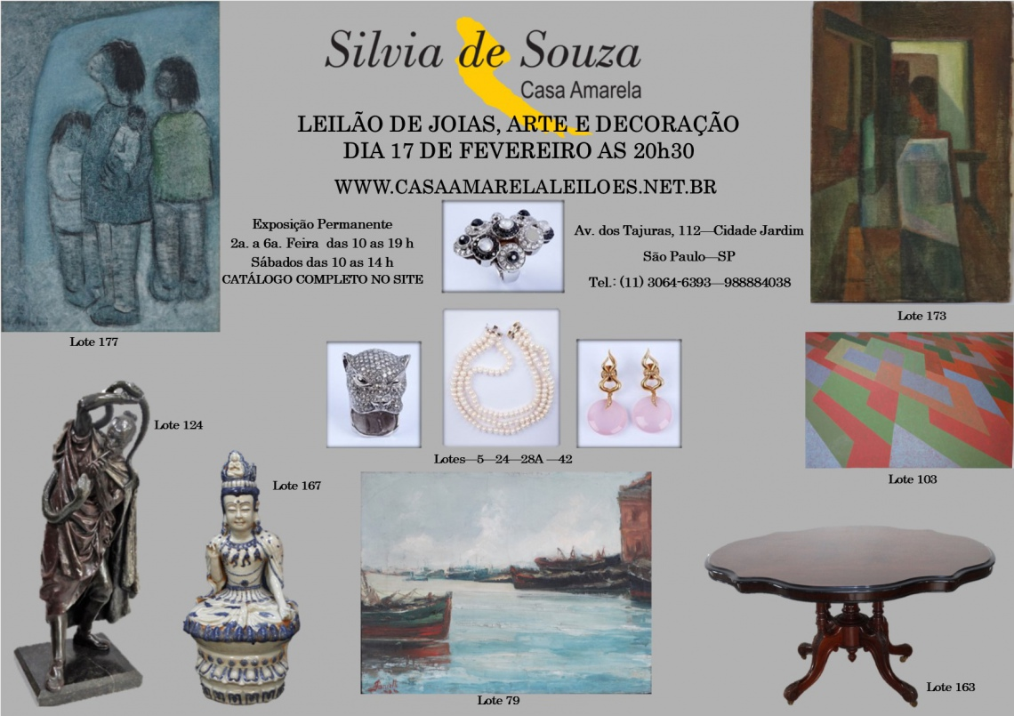 LEILÃO DE JOIAS, ARTE E DECORAÇÃO
