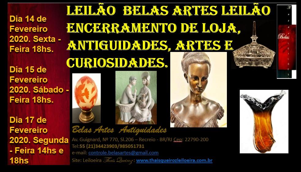 Leilão Encerramento de Loja, Antiguidades, Artes e Curiosidades.