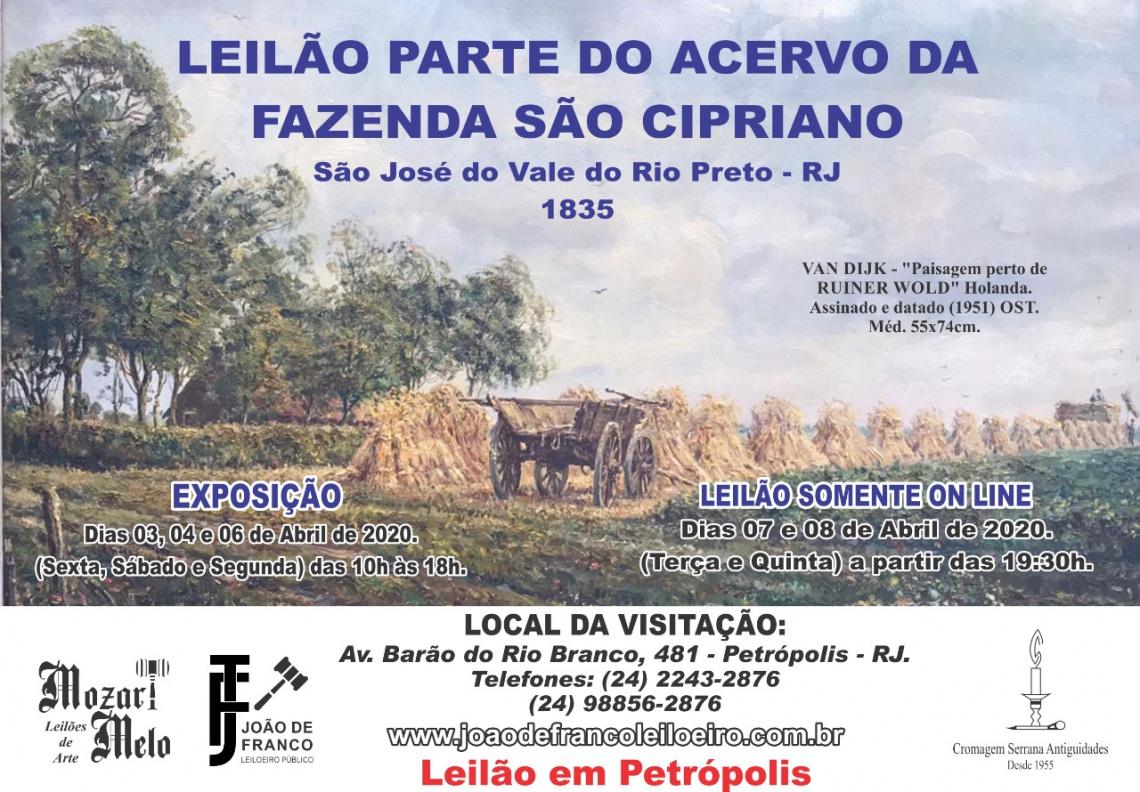 Leilão parte do acervo pertencente a FAZENDA SÃO CIPRIANO - São José Vale do Rio Preto - RJ - 1835