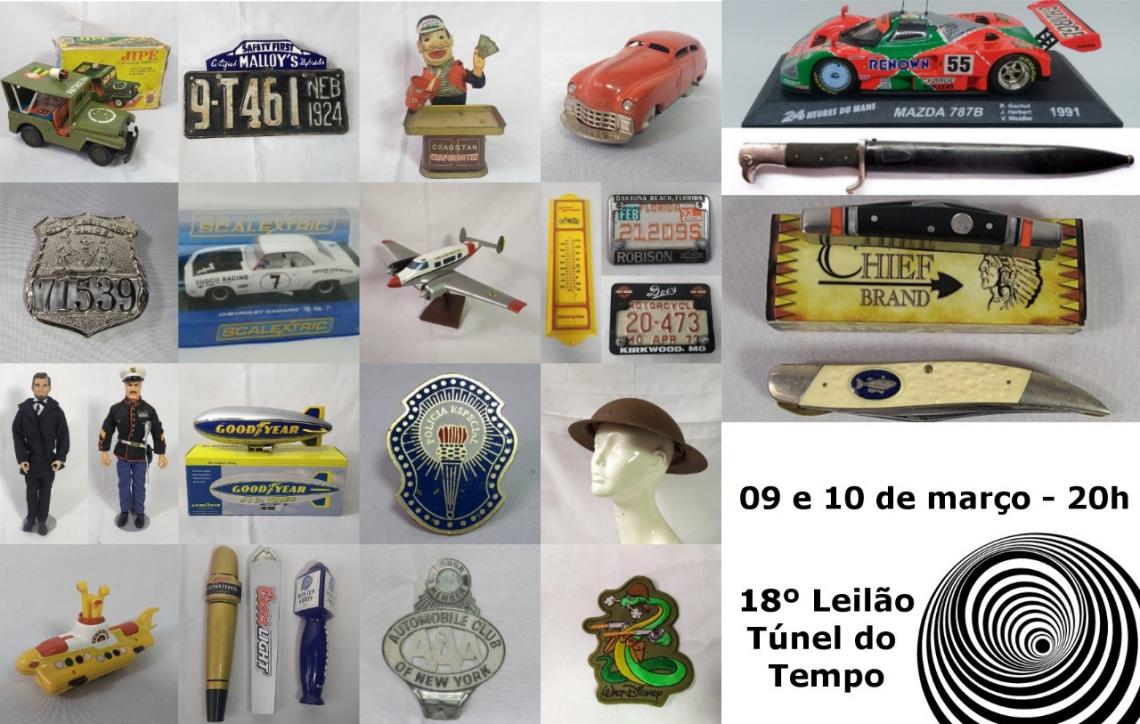 18º LEILÃO TÚNEL DO TEMPO COLECIONISMO, MILITARIA, BRINQUEDOS ANTIGOS, DECORAÇÃO DE GARAGEM, AVIAÇÃO