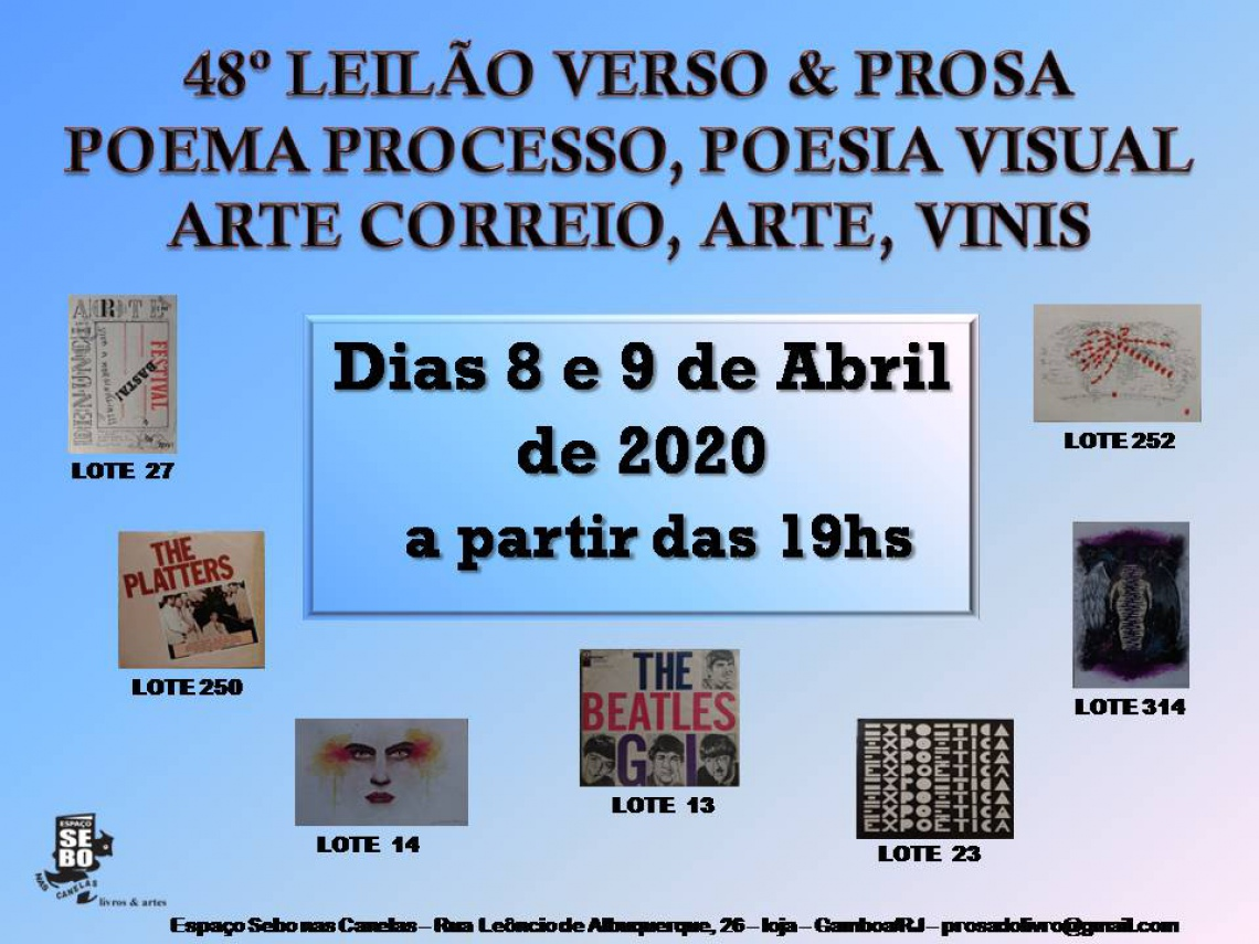 48º LEILÃO VERSO & PROSA - POEMA PROCESSO, ARTE POSTAL, POEMA VISUAL, ARTE, VINIS