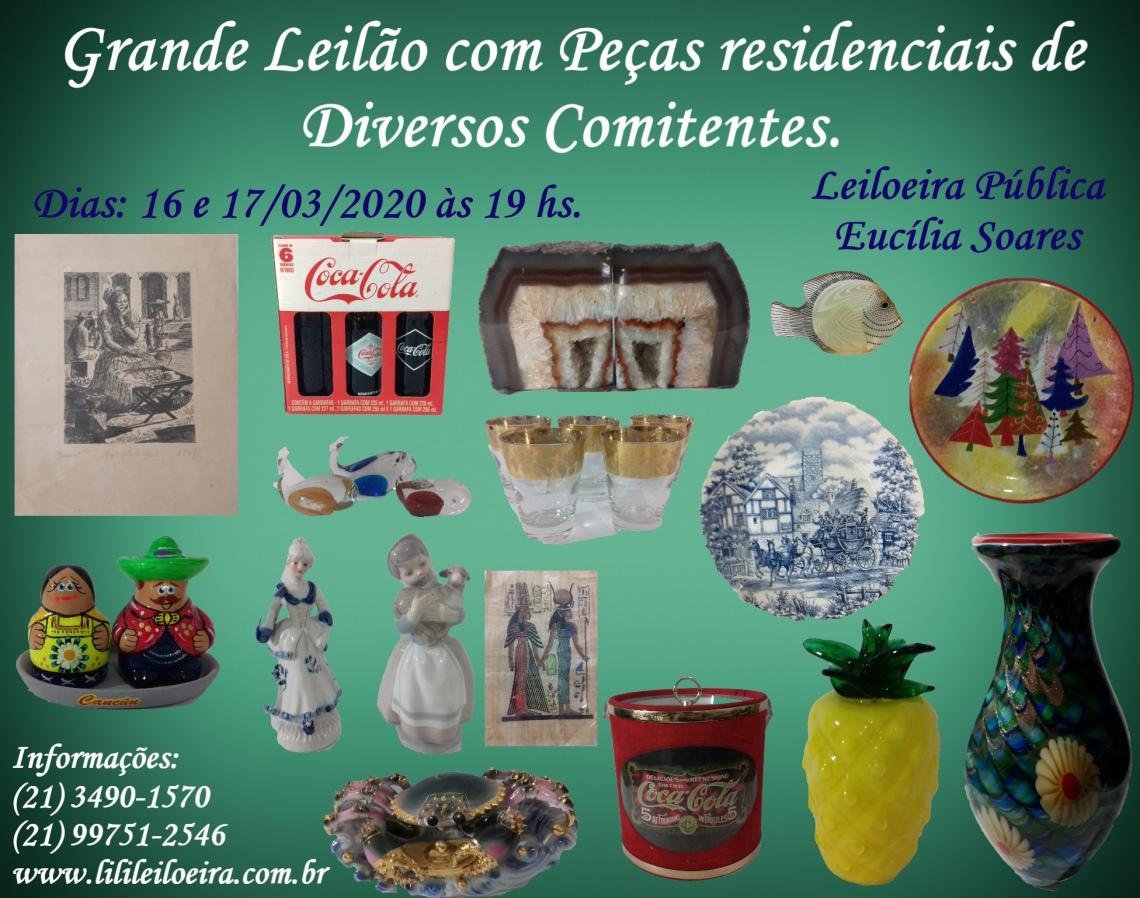 GRANDE LEILÃO COM PEÇAS RESIDENCIAIS DE DIVERSOS COMITENTES.
