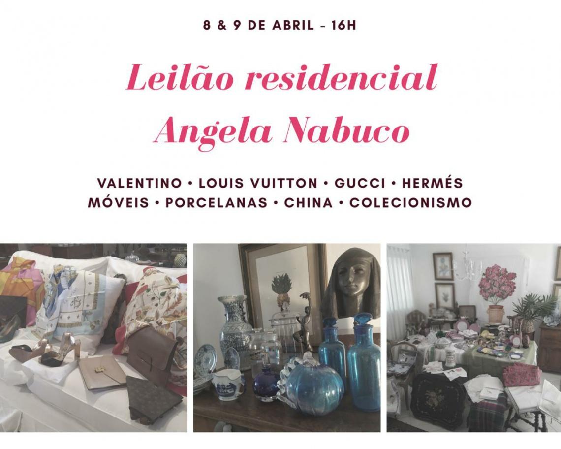 LEILÃO RESIDENCIAL ÂNGELA NABUCO - BOLSAS - CAMA/MESA/BANHO - ARTE E DECORAÇÃO