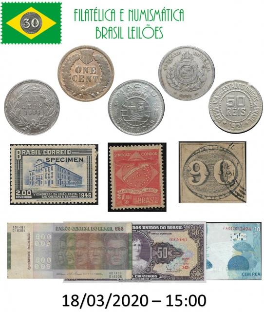 59 LEILÃO DE COLECIONISMO FILATÉLICA E NUMISMÁTICA BRASIL