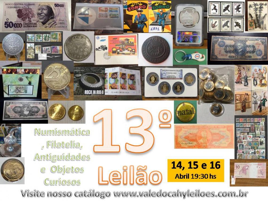 13º Leilão de Numismática, Filatelia, Antiguidades e Objetos Curiosos