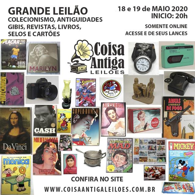 Grande Leilão de Colecionismo, Gibis, Revistas, Livros, Selos, Cartões e Antiguidades