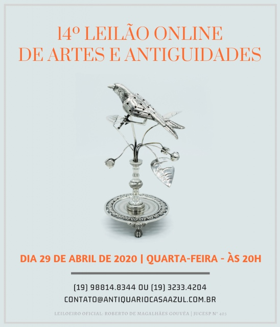 14º LEILÃO DE ARTES E ANTIGUIDADES - 29/04/2020 às 20h00