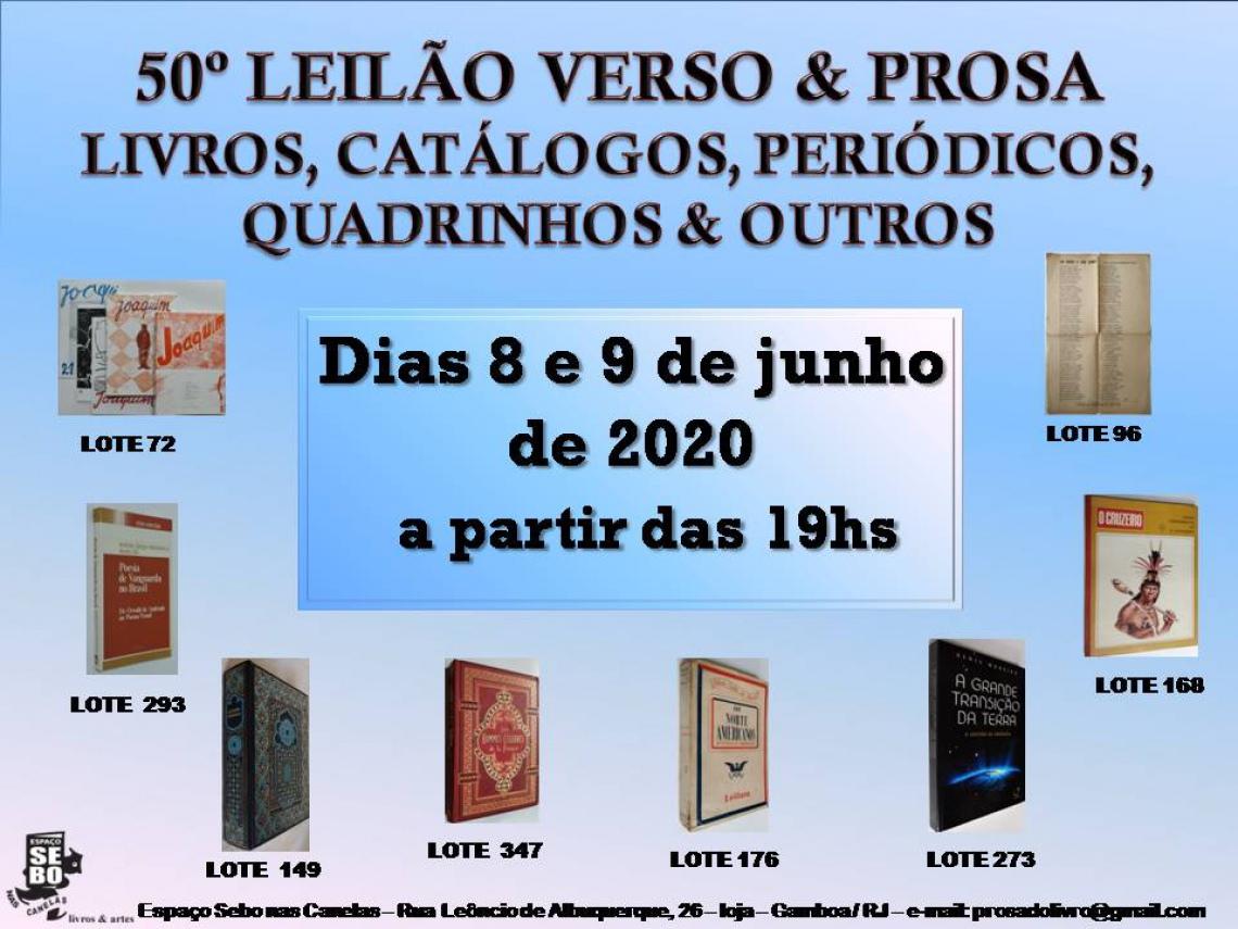 50º LEILÃO VERSO & PROSA -  LIVROS, CATÁLOGOS, PERIÓDICOS, QUADRINHOS & OUTROS