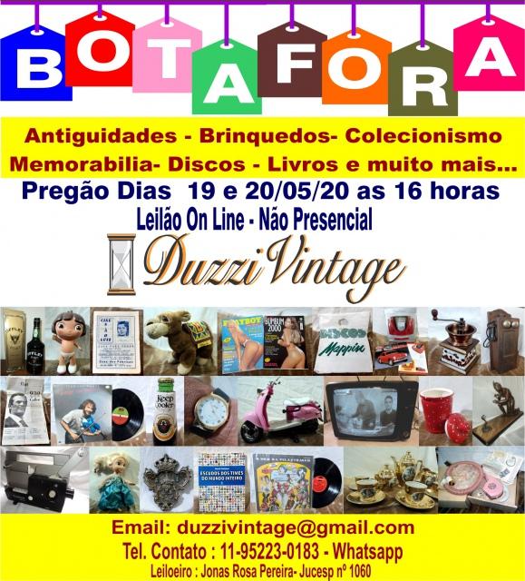 XXI LEILÃO DUZZIVINTAGE- Antiguidades-Brinquedos-Colecionismo-Discos-Livros-Memorabilia,e muito mais