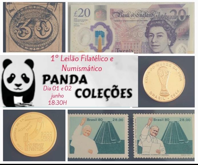 1º LEILÃO FILATÉLICO E NUMISMÁSTICO PANDA COLEÇÕES