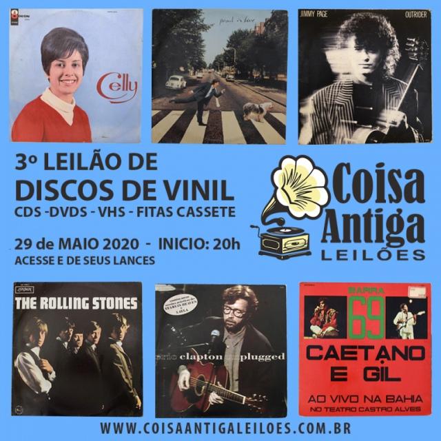 3º LEILÃO DE DISCOS DE VINIL, CDS, DVDS, VHS E FITA CASSETE