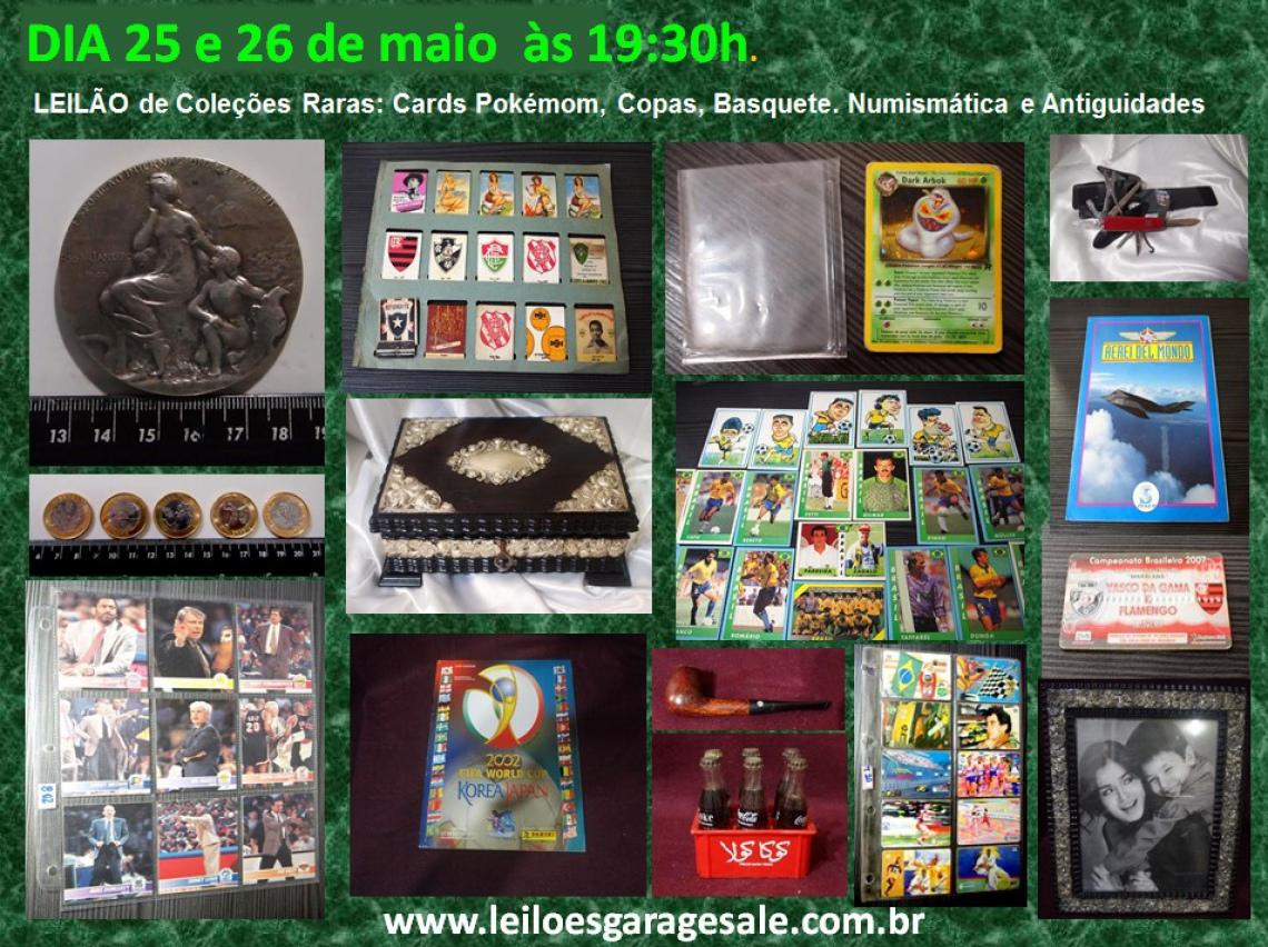 LEILÃO de Coleções: Cards Pokémom, Copas, Basquete,Telefone. Numismática e Antiguidades
