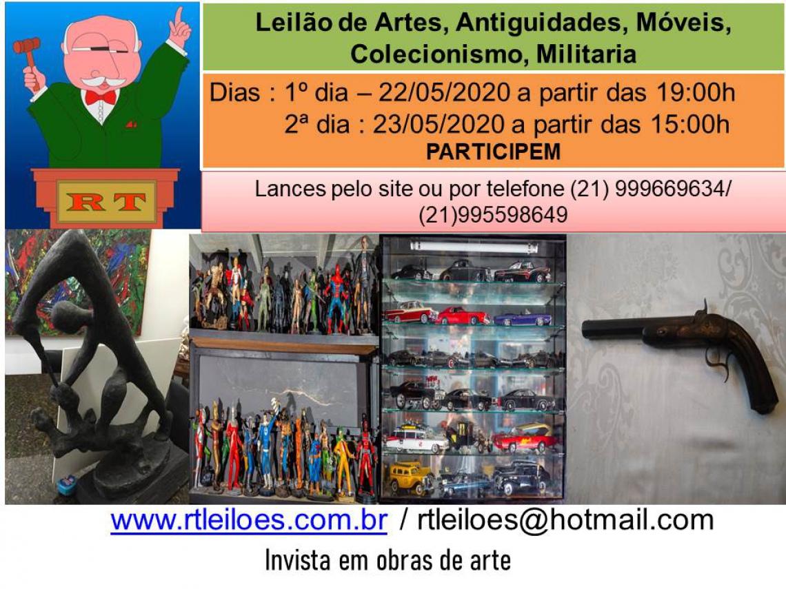 LEILÃO DE ARTE E ANTIGUIDADES , COLECIONISMO, MÓVEIS E MILITARIA