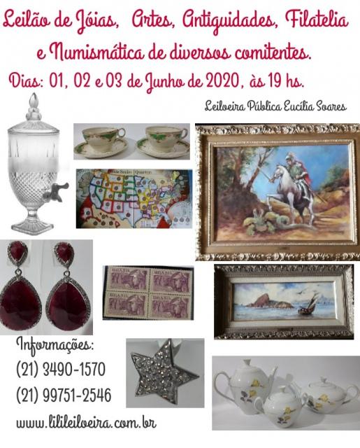 LEILÃO DE JÓIAS, ARTES, ANTIGUIDADES, FILATELIA E NUMISMATICA DE DIVERSOS COMITENTES.