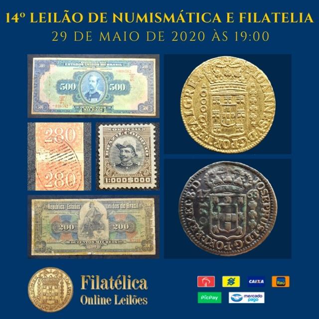 14º LEILÃO DE NUMISMÁTICA E FILATELIA - FILATÉLICA ONLINE LEILÕES