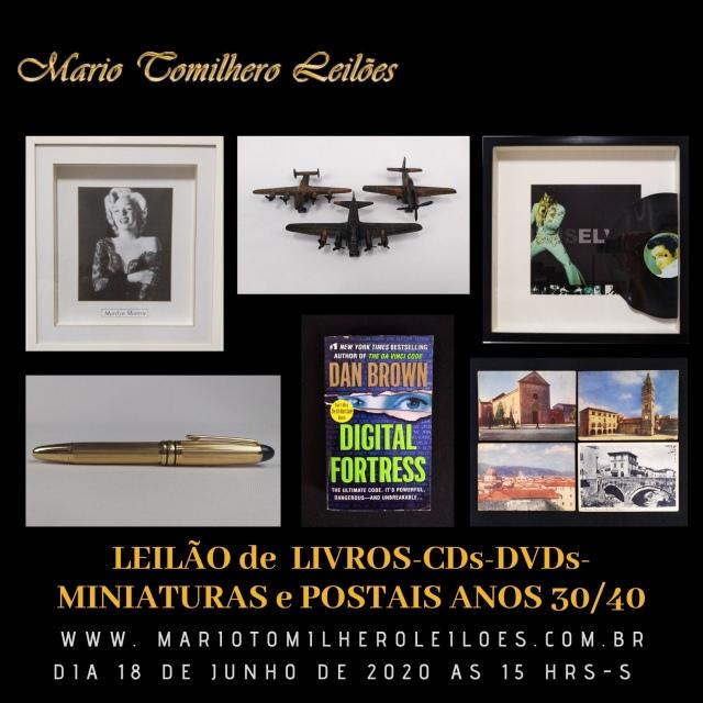 LEILÃO DE LIVROS, CDs, dvdS, MINIATURAS E POSTAIS ANOS 30/40) E QUADROS HOME THEATHER.