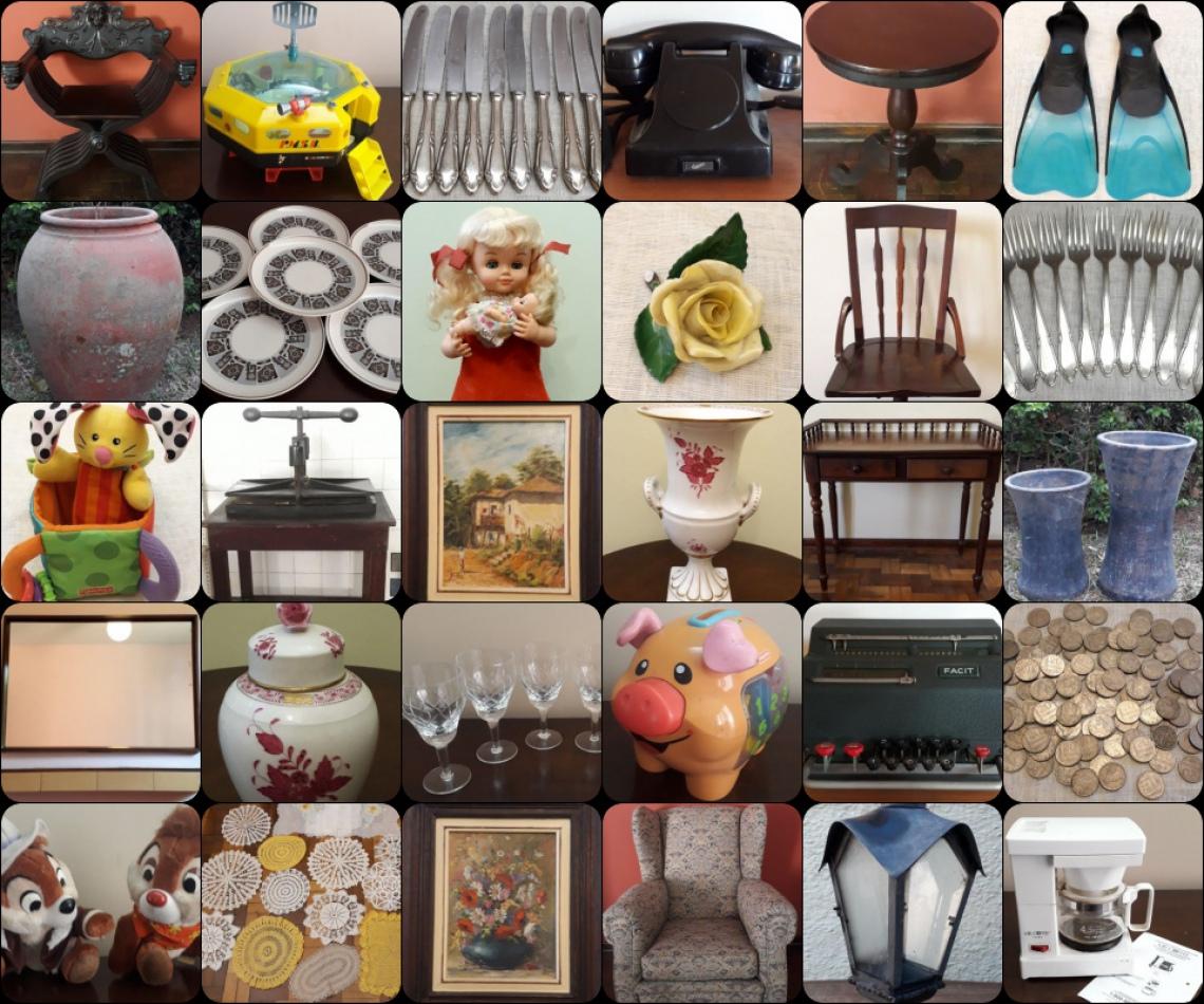 ACERVO FAMÍLIA GARCIA (Antiguidades em Móveis, Brinquedos, Ferramentas,  Peças, Quadros e Outros).