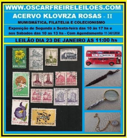 LEILÃO: NUMISMÁTICA, FILATELIA E COLECIONISMO ACERVO KLOVRZA ROSAS II