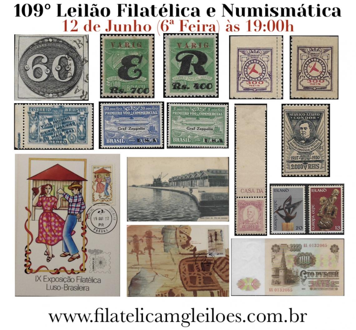 109º Leilão de Filatelia e Numismática