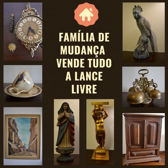 FAMÍLIA DE MUDANÇA VENDE TUDO A LANCE LIVRE! Antiguidades, móveis, esculturas, porcelanas, quadros..